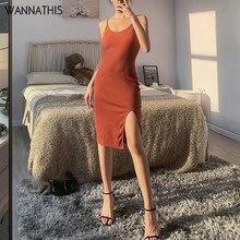 WannaThis – robe d'été mi-longue pour femme, Sexy, moulante, slim, élastique, sans manches, à bretelles Spaghetti, col rond