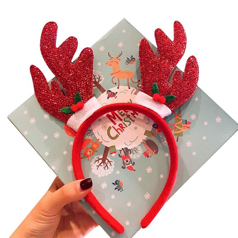 2019 Christmas Glitter Deer Horn Hair Band For Women Girls Kids Headband Hairband Headwear New Year Party Bezel Hair Accessories