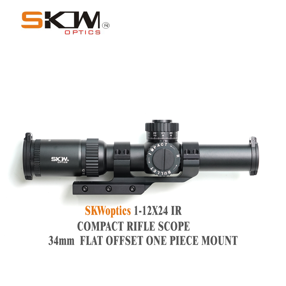 SKWoptics 1-12x26 Rifle scopes with 34mm CNC one piece mount rings Military Tactical reticle shock proof Riflescopes Hunting