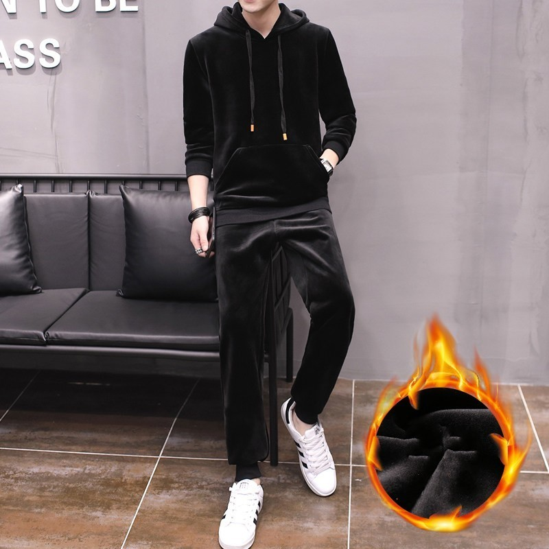 Winter Mens Fleece Lining Joggers Sweatshirt Set Casual Hoodies Tracksuit Velvet Couple Two Pieces Long Pants Sets Big Size 3XL
