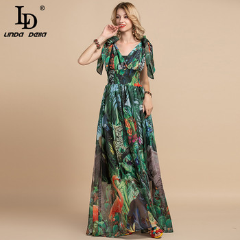 LD LINDA DELLA Summer Fashion Runway Maxi Dress Women's V-Neck elastic Vintage Flowers Print Holiday Boho Long Dress Plus size 5