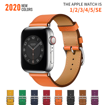 brown leather band loop strap for apple watch 6 se 5 4 3 2 38mm 40mm men leather watch band for iwatch 5 4 44mm 42mm bracelet Business Real Leather loop Bracelet Belt Band for Apple Watch band 6 SE 5 4 42MM 38MM 44MM 40MM Strap for iWatch 6 5 4 Wristband