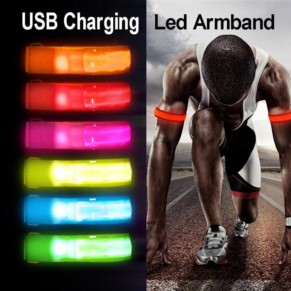 Bike Night Running Safety Warning Light Luminous Arm Strap Reflective Leg Belt