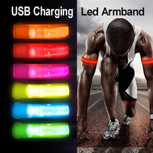 USB Charging Night Running Led Armband Outdoor Cycling Jogging Arm Strap Bike Safety Light Reflective Belt Warning Wristband new arrivals warning waist belt tape lamp led light outdoor night cycling running working workplace safety supplies accessories