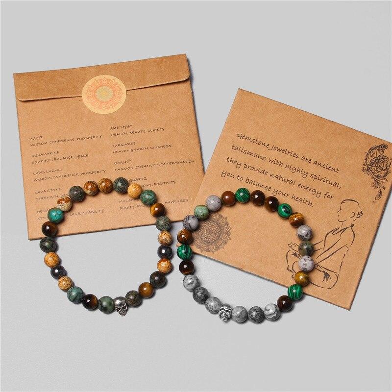 Gothic Style Skull Bracelets Men 2020 Fashion Handmade Silver Color Charm Bracelet Women Amulet Tiger Eye Stone Beads Pulsera