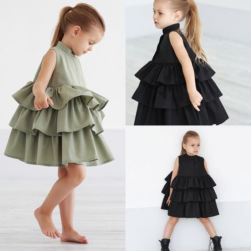 Summer Cute Black Green Ball Gown Girls Dresses Kid Girl Party Dress Sleeveless O Neck Cake Ruffled Tutu Bubble Dress 2-6T