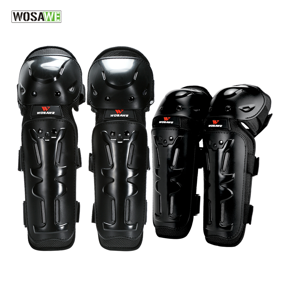 WOSAWE 4Pcs/Set Outdoor Racing Skating Elbow Knee Shin Support Protector Guards Protective Motocross Cycling Sport Gear Pad