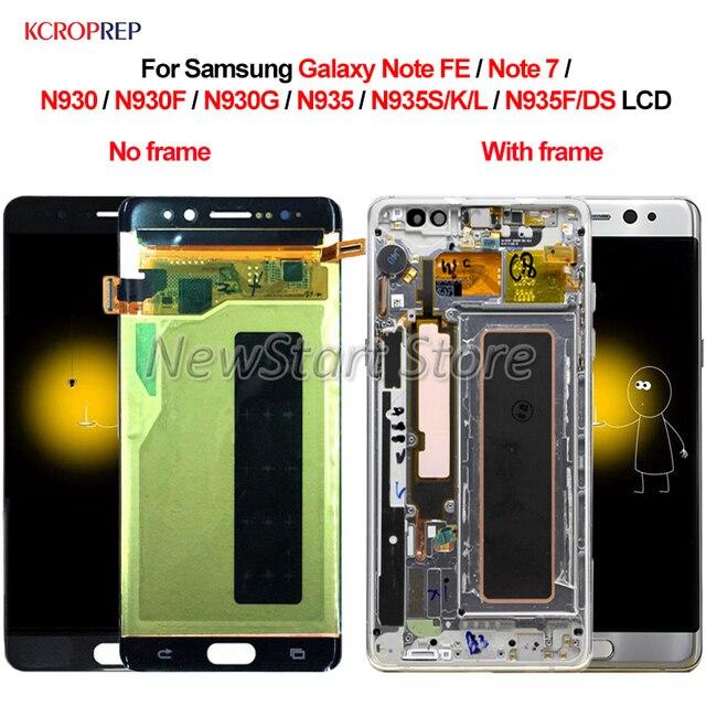 สำหรับSamsung GalaxyหมายเหตุFE 7 N930 N935จอแสดงผลLCD Touch Screen Digitizer AssemblyสำหรับSamsungหมายเหตุ7 FE N930F n935F/DS LCD