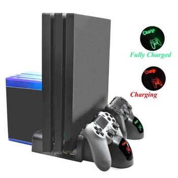 3 in 1 Dual Charging Station Dock w/Cooling Fan for PS4/PS4 Slim/PS4 Pro LED Dlsplay Controller Charger w/Discs Storage Slots image
