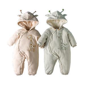 Одежда для детей от 0 до 24 месяцев осенне-зимняя теплая хлопковая одежда с вышивкой для малышей комбинезон для малышей