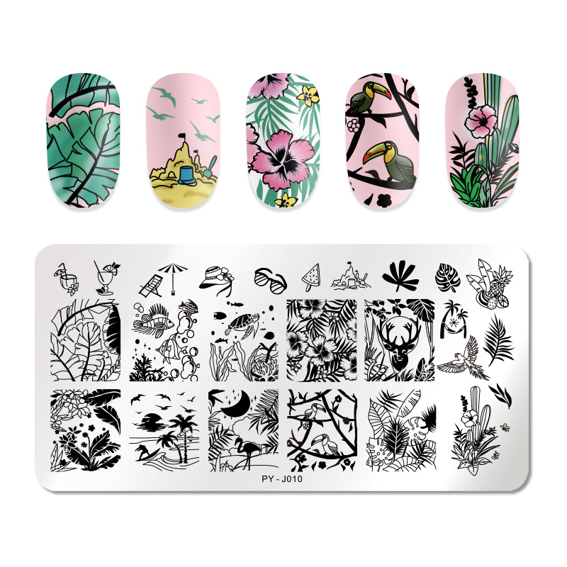 PICT YOU Flowers Brird Stamping Plates Natural Plants Nail Art Image Patterns Stamp Templates Plate Stencil Accessories Tools