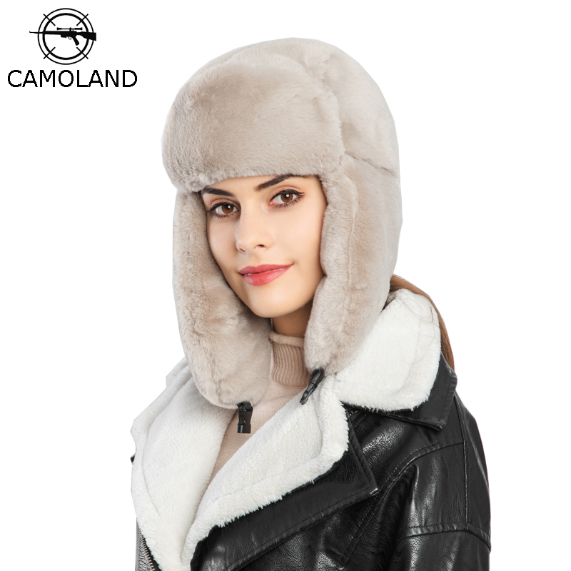 CAMOLAND Women Russian Winter Hat Ushanka Bomber Hats For Mens Aviator Outdoor Ear Flaps Cap Faux Rabbit Fur Trapper Caps