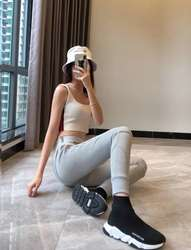 2020 frühjahr Brief Logo Jacquard Band Engen Hohe Taille Hosen Frauen Leggings Yoga Hosen Leggings Frauen A2