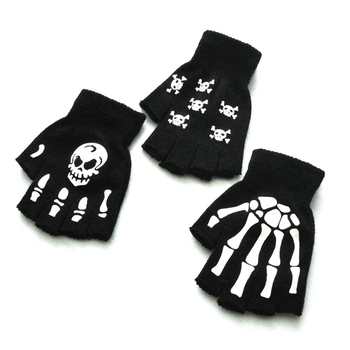 Halloween Style Gloves Horror Skull Claw Bone Skeleton Half Novelty Unisex Mitten Winter Hand Warmer Wrist Print image