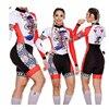 Das mulheres longas calças Ciclismo Skinsuit Maillot Ropa ciclismo Triathlon curto de Manga comprida Casal Bicicleta Jersey define Macacão 20
