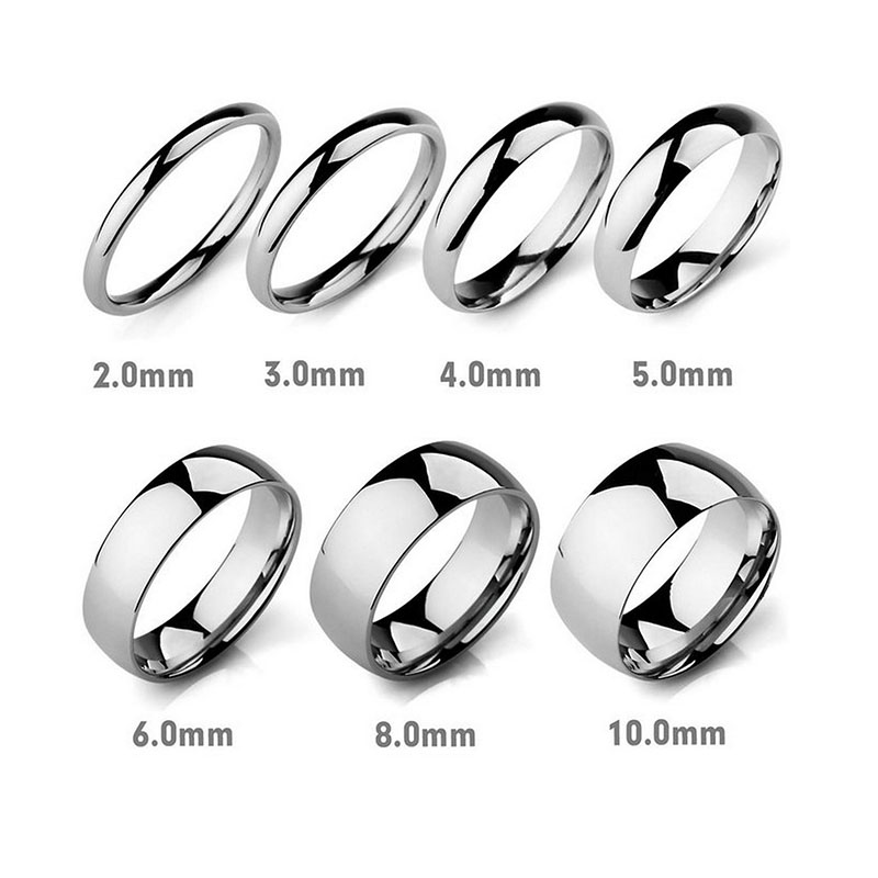 Inside and Outside Curved Smooth Ring Fashion Jewelry Stainless Steel Men's Ring, Couple Rings for Men Women 4mm6mm8mm12mm Wide