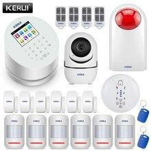 KERUI – système d'alarme de sécurité domestique sans fil W2, wi-fi, GSM, PSTN, panneau avec détecteur de mouvement PIR, capteur d'ouverture de porte, caméra WIFI