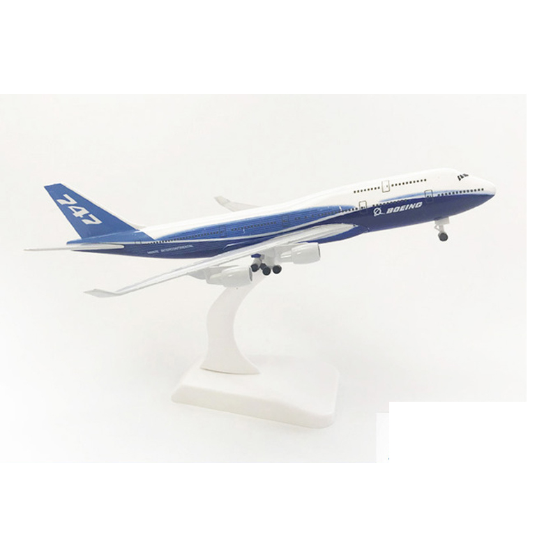 20cm Aircraft Boeing 747 Prototype Alloy Plane with Wheel B747 Model Toys Children Kids Gift for Collection image