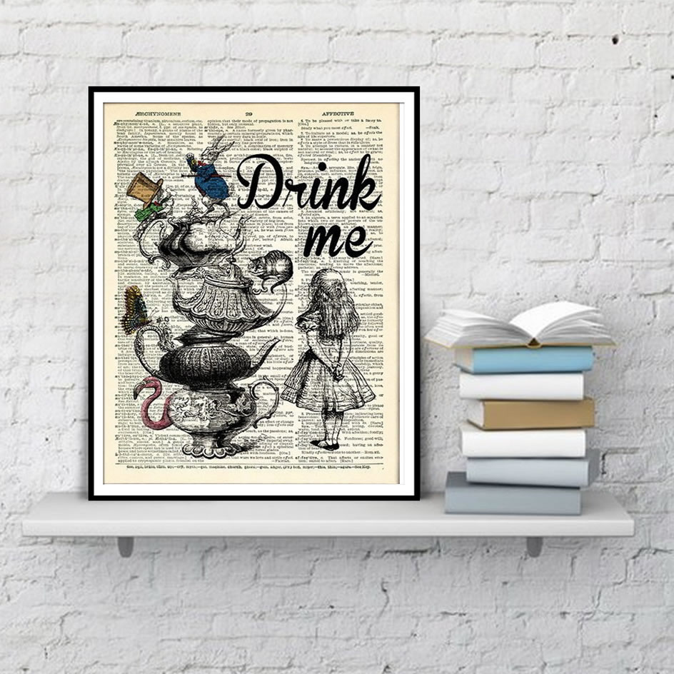 Alice In Wonderland Wall Art Poster Dictionary Art Watercolor Canvas Painting Living Room Home Decoration Posters And Prints