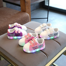 Spring/Autumn cartoon kids footwear hot sales infant tennis cute Lovely boys girls shoes LED children casual sneakers