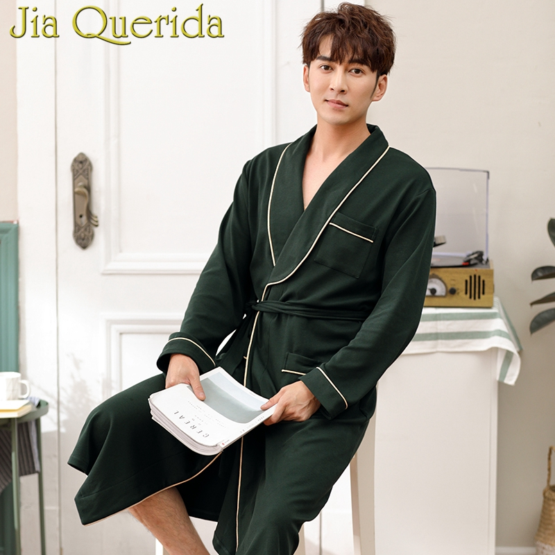Men Kimono Solid Mens Robes Plus Size Dark Green 100% Cotton Homewear Bath Robe Long Sleeves Belted Autumn Winter Kimono Robe