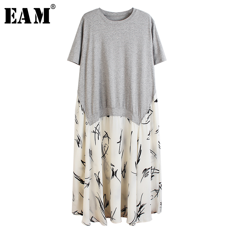 [EAM] Women Pattern Printed Stitch Big Size Dress New Round Neck Short Sleeve Loose Fit Fashion Tide Spring Summer 2020 1T213