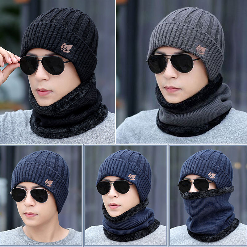 2019 Men's Fashion Winter Beanies Hats Scarf Casual Knitted Beanie Caps Gorros Mufflers Scarf Winter Hat For Men