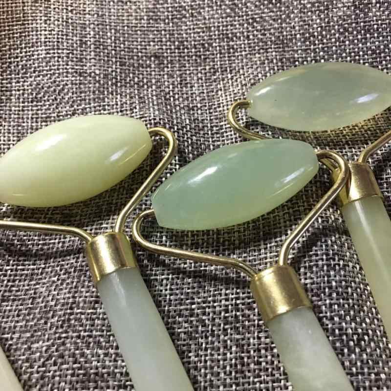 Hijau Pijat Wajah Roller Double Kepala Batu Jade Wajah Angkat Tangan Kulit Tubuh Relaksasi Slimming Kecantikan Perawatan Kesehatan