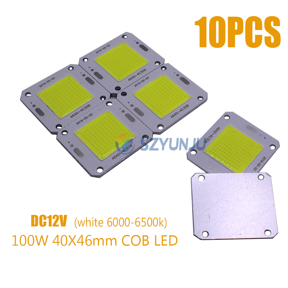 100W 40x46mm COB LED Chip Pure White 6000-6500K 100LM/W LED DC12V 7A Chip Source For Flood Light Free Shipping 10PCS