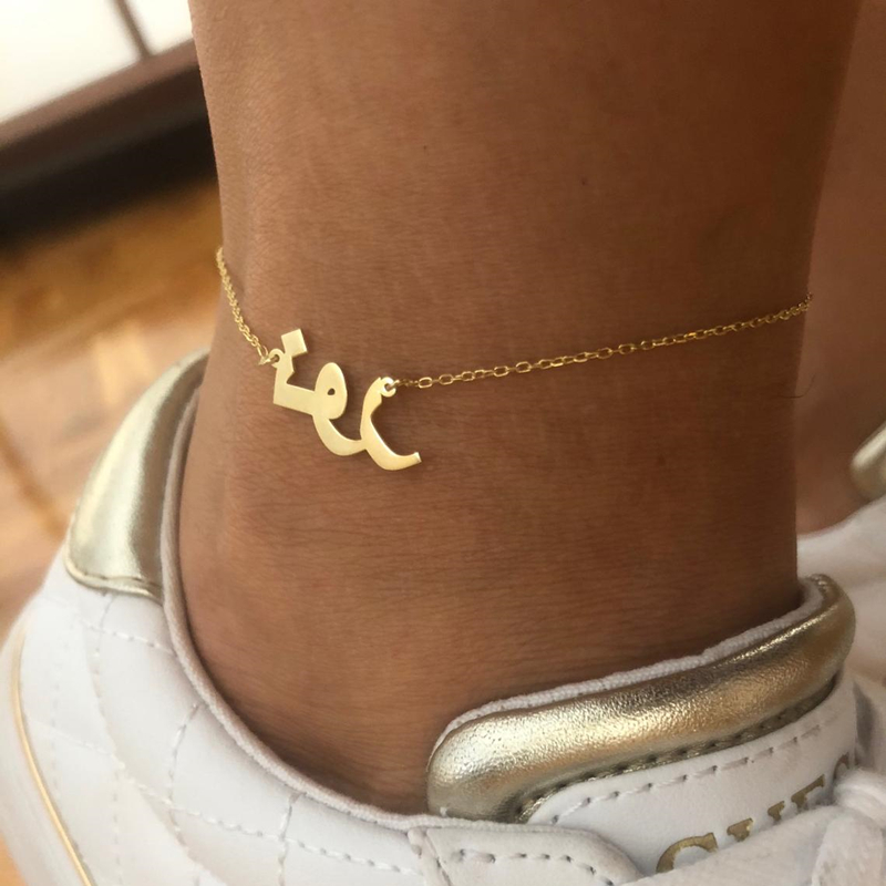 Customized Arabic Ethnic Name Anklets For Women Girl Charm Personalized Handmade Nameplate Ankle Bracelet Femme Islamic Jewelry