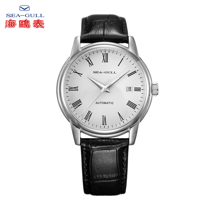 Seagull Business Watches Men's Mechanical Wristwatches 50m Waterproof Leather Valentine Male Watches D819.636