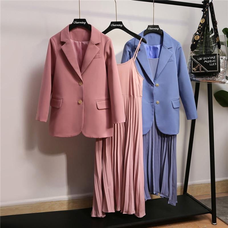XL-5XL Women Large Size Two-pieces Suits Blazer Autumn Winter Office Suit Lady Jacket + Pleated Strap Dress Plus Size Dress Sets