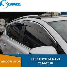 цена Side Window Deflectors Smoke Color Car Wind Deflector Sun Guard FOR TOYOTA RAV4 2014 2015 2016 2017 2018 car accessories SUNZ