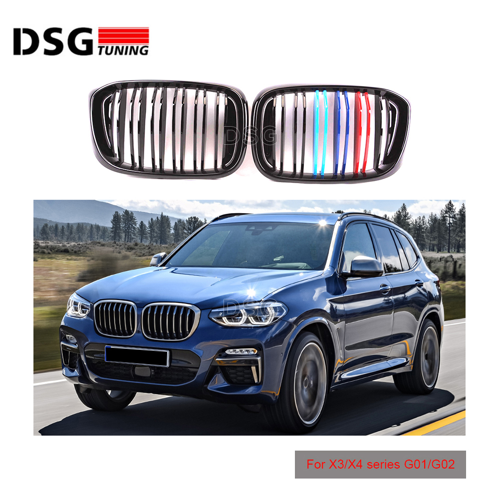 2-Slats Front Kidney <font><b>Grill</b></font> For <font><b>BMW</b></font> <font><b>X3</b></font> X4 <font><b>G01</b></font> G02 Racing Grille ABS xDrive20i xDrive30i 2018+ image