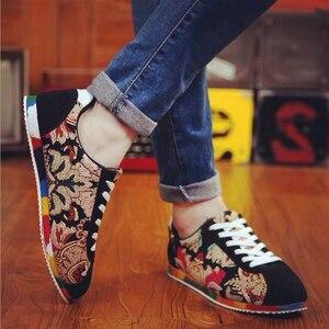 Image 4 - קיץ סיני סגנון גברים בד נעלי אופנה לנשימה נעליים שטוחות נעלי להחליק אופנה גברים נהיגה נעליים יומיומיות סניקרס
