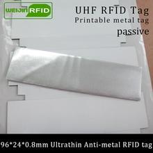 UHF RFID ультратонкая антиметаллическая бирка 915 МГц 868 м EPC Gen2 fixed фиксированные средства 96*24*0,8 мм для печати Пассивная RFID PET этикетка