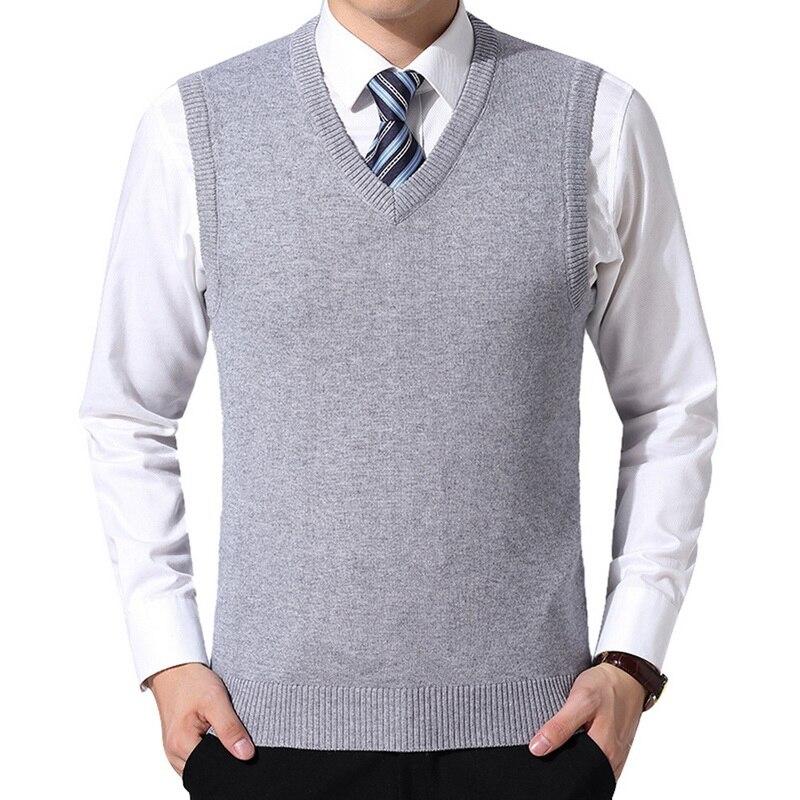 MoneRffi 2019 Pullover Sweater Clothing Men Autumn V Neck Slim Vest Sweaters Sleeveless Men's Warm Sweater Cotton Casual M-3xl