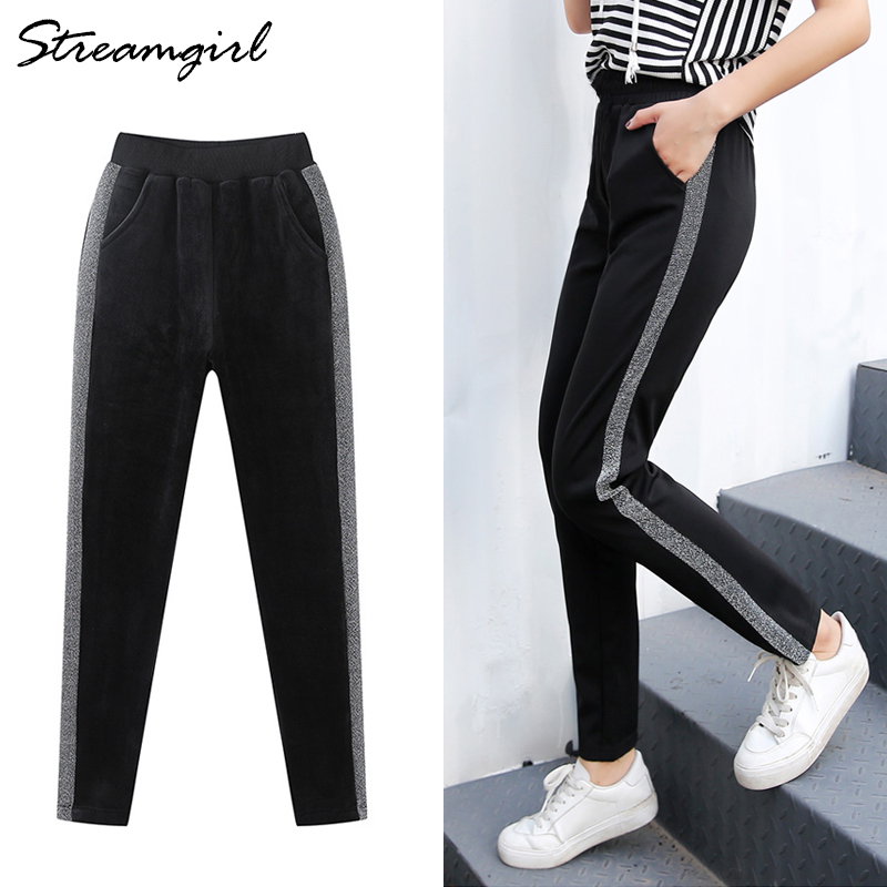 Warm Sweatpants Women Winter Pants With Stripes To The Side Woman Velvet Striped Harem Pants Winter Trousers Women Striped WarmPants & Capris   -