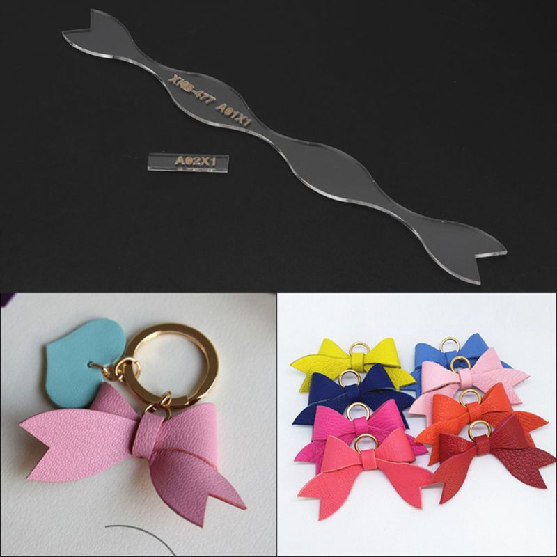 Handmade Bowtie Leather Keychain Pendant Bowknot Acrylic Pattern Stencil Templates Jewelry Making DIY Bow Art Crafts