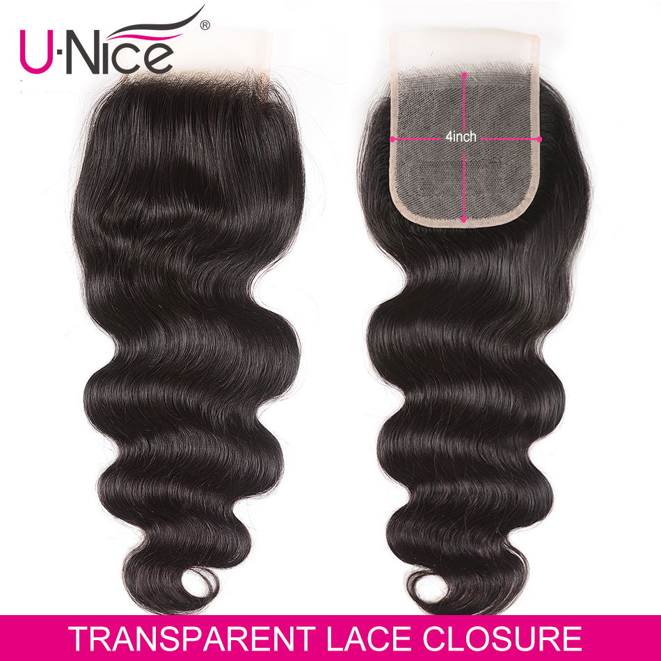Unice Hair Brazilian Body Wave Closure 4*4 Transparent Lace Color Hand Tied Remy Human Hair Brazilian Lace Closure