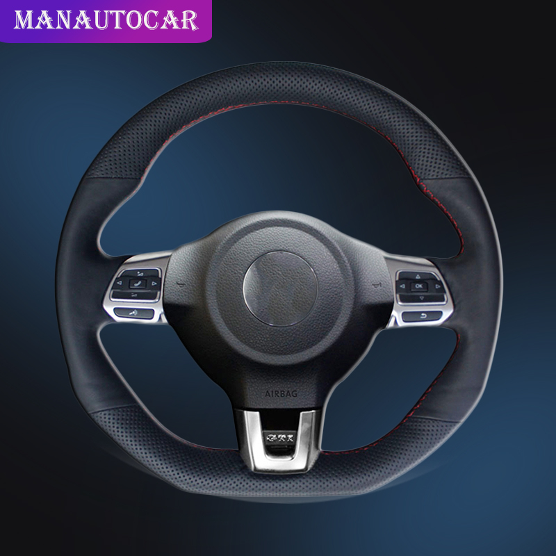 <font><b>Car</b></font> Braid On The Steering <font><b>Wheel</b></font> <font><b>Cover</b></font> for Volkswagen <font><b>Golf</b></font> 6 GTI MK6 VW Polo GTI Scirocco R Passat CC R-Line 2010 DIY Auto <font><b>Covers</b></font> image