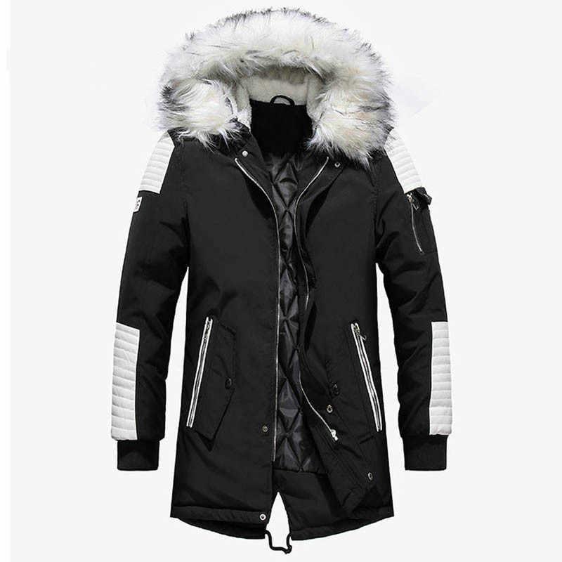 ฤดูหนาวแจ็คเก็ตชายThicken WARM Parkasยาวลำลองผู้ชายOutwear Hoodedแจ็คเก็ตเสื้อParkas Hombre Invierno Dropshipping