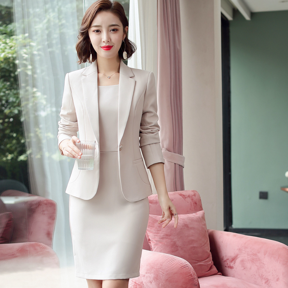 Blazer Dress Suits Ladies Office Wear Full Sleeve Slim Blazer+Sleeveless Dress 2 Piece Set Vestido Formal Dress Suit Woman 8092