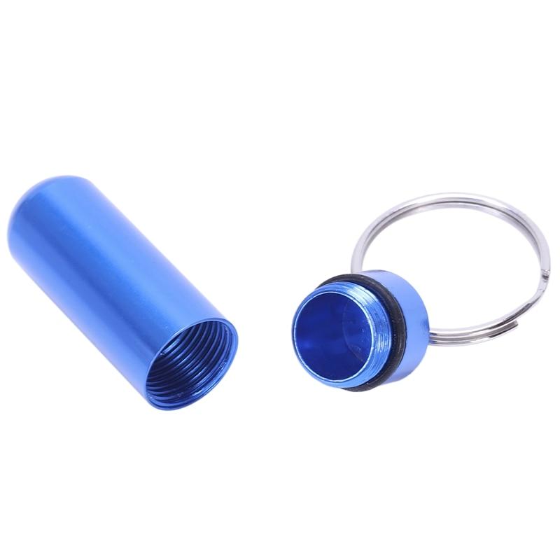 Royal Blue Aluminum Pill Tablet Case Box Cylinder Holder w Keyring