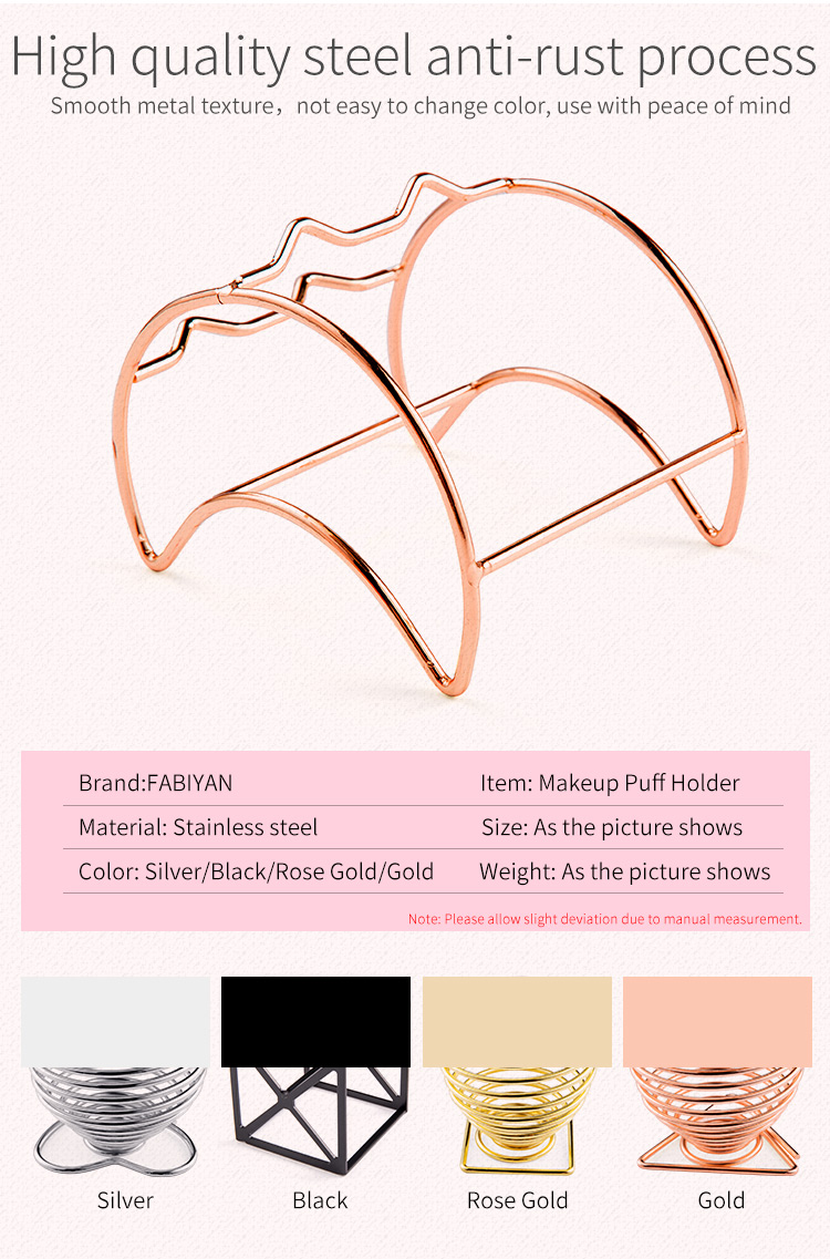 H6a73a92a213d473c8a808bcb9748bd07u 1Pcs Metal Bracket Makeup Puff Rack Cosmetic Holder Blender Display Stand Alloy Drying Power Make Up Sponge Tools 17 Style
