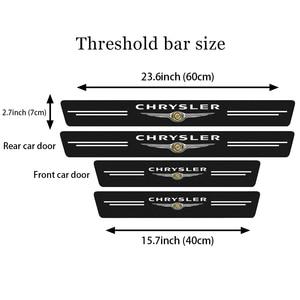 Image 3 - 4Pcs Für Chrysler 300c 300 Pacifica 200 Sebring PT Cruiser Auto Scuff Platte Tür Threshold schwelle Aufkleber Auto Styling logo Abdeckung