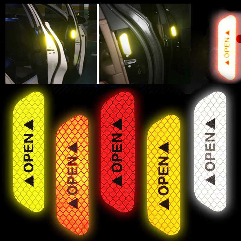 4Pcs Car Open Reflective Tape Reflective Strips Waterproof Car Warning Stickers Night Driving Safety Lighting Luminous Tapes Hot