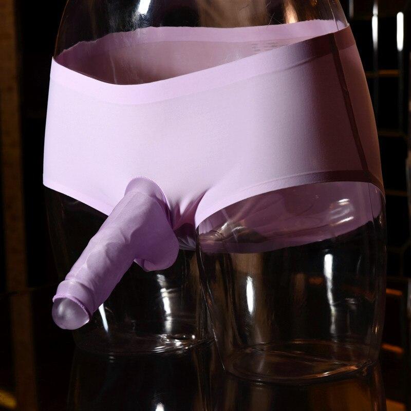 Men's Quick Dry Ice Silk Briefs Underwear Seamless One Piece  Penis Erect Shaft Close Open Nose Pouch Soft Erotic Underwear
