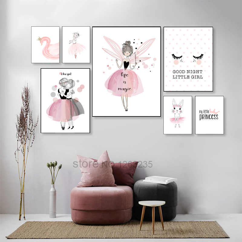 Nordic Poster Pink Baby Girl Room Decor Nursery Canvas Poster Wall Pictures Canvas Painting Posters Baby Room Wall Decoration