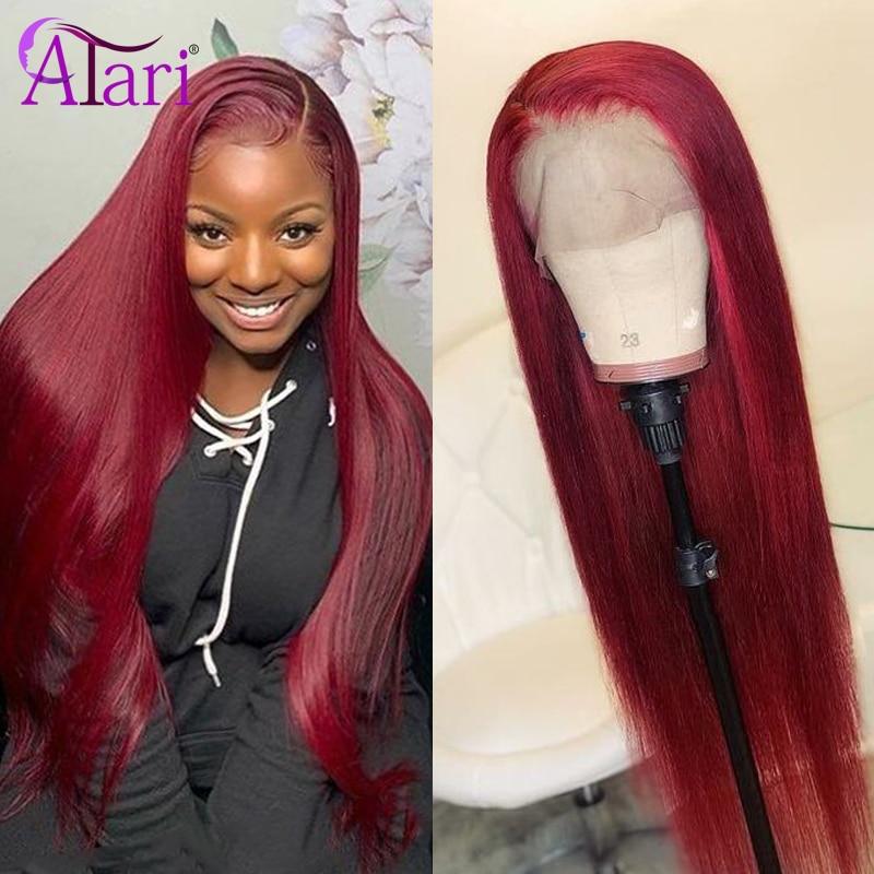 Pelucas de encaje transparente 99j peluca con malla frontal Malasia recta peluca con malla frontal pelucas de cabello humano de color 180% de densidad